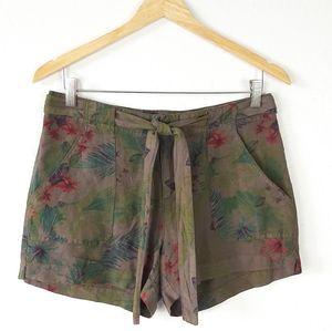 SANCTUARY Khaki Floral Print Linen Blend Shorts L